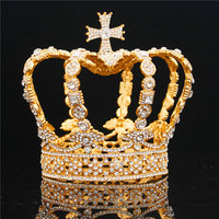 Male Cross Crown baroque Bridal Wedding crown Royal King Tiara Wedding dress birthday party performance accessories Diadem