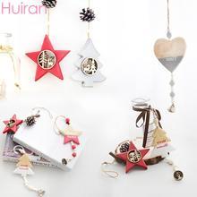цена Huiran Christmas Wooden Pendant Merry Christmas Tree Decorations For Home Navidad 2019 Xmas Ornaments Kids Gift New Year 2020 в интернет-магазинах