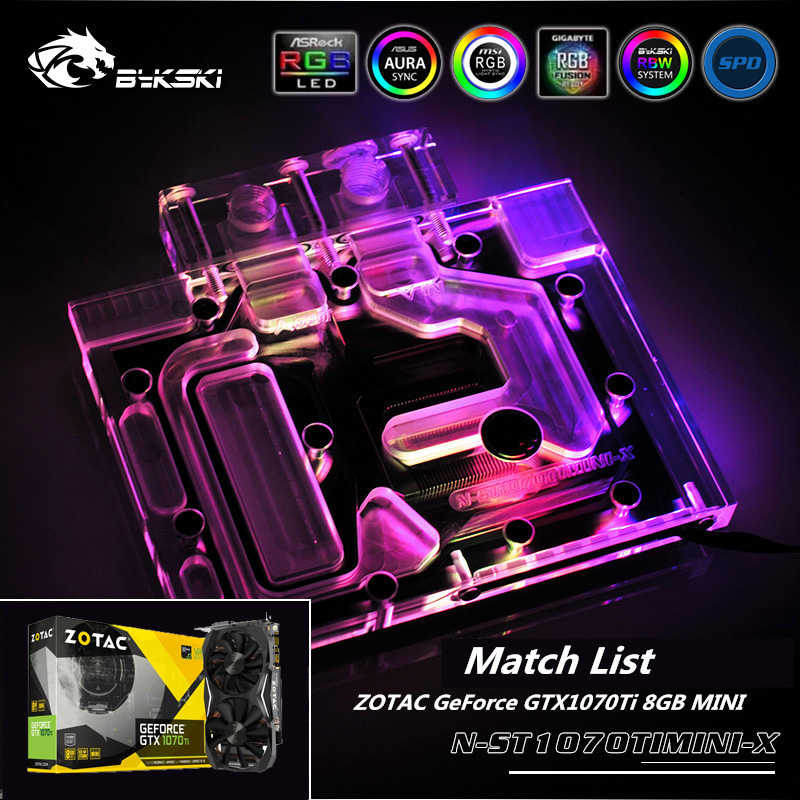Bykski N-ST1070TIMINI-X Full Coverage GPU Water Block For VGA For ZOTAC <font><b>GeForce</b></font> <font><b>GTX1070TI</b></font> 8GB MINI Graphics Card Radiator Cooler image
