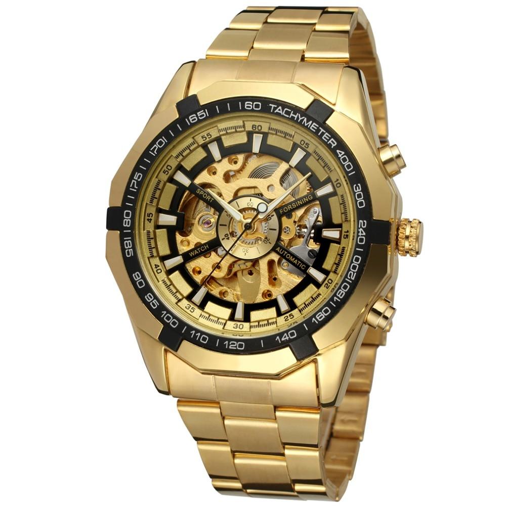 Часы winner skeleton luxury gold