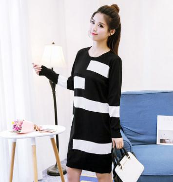 Color Block Knitted Nursing Sweater Dress 2017 New Stylish Nursing Clothes for Pregnant Women Breastfeeding Clothes XF668#115