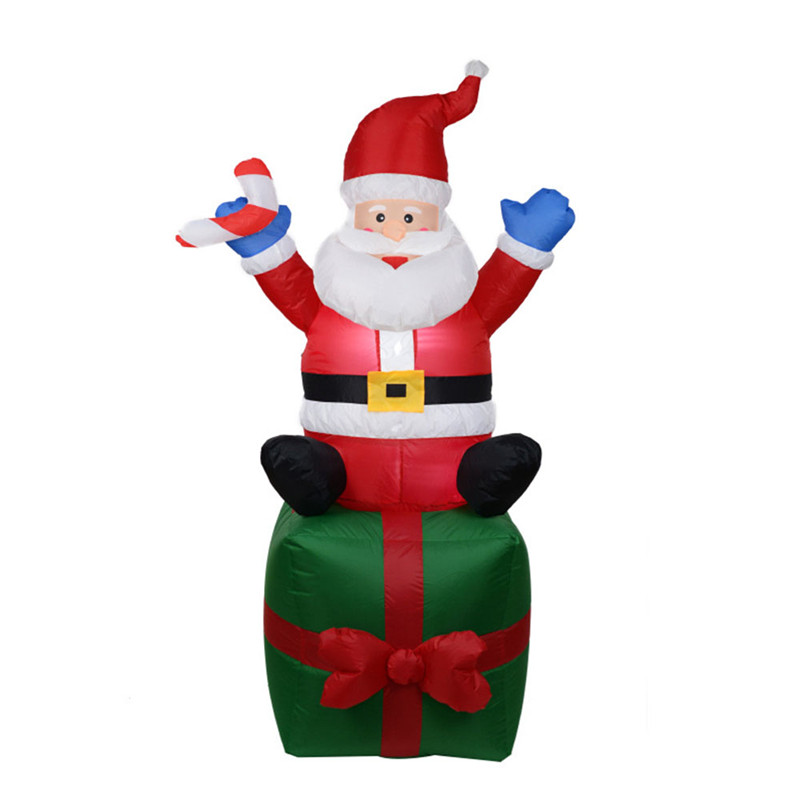 1.8m Giant Santa Claus Mascot LED Lighted Inflatable Toys With Pump Christmas Halloween Party Props Yard Garden Deco Blow Up