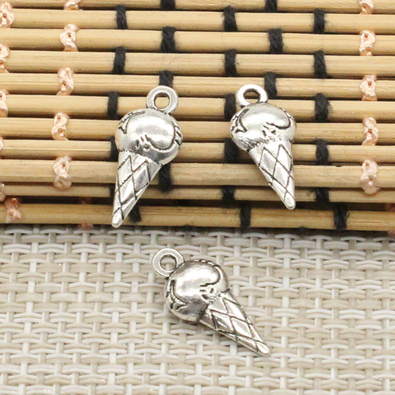 10pcs Charms double sided ice cream cone 19*8*4mm Tibetan Silver Plated Pendants Antique Jewelry Making DIY Handmade Craft