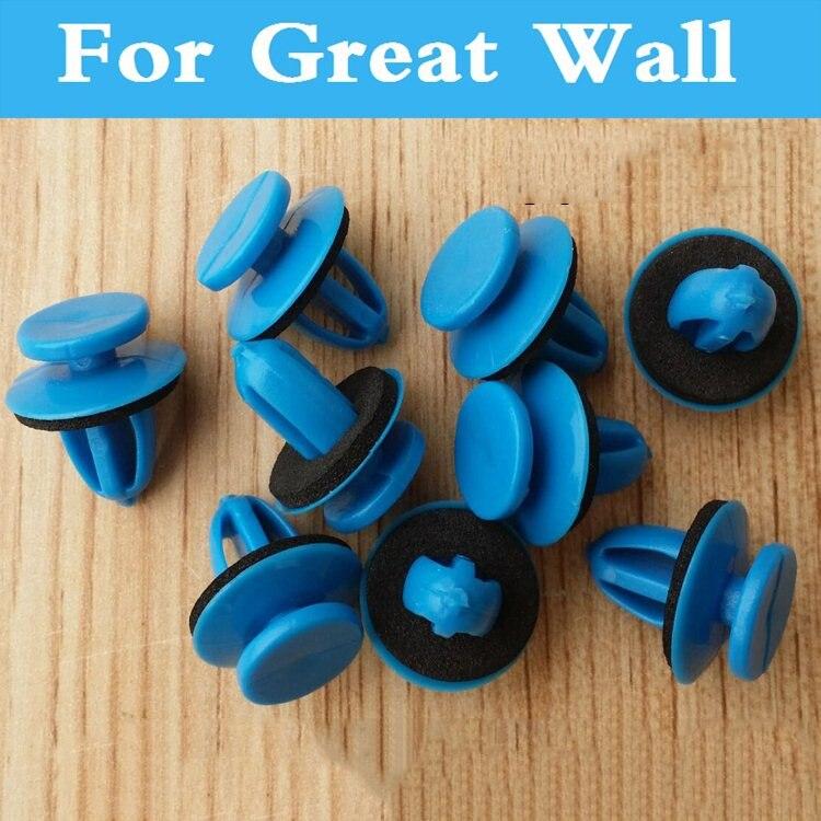 Nouveau 50 pcs Voiture Pare-chocs Garde-Boue En Plastique Rivets Bleu Attaches Pour Grand mur H6 H3 Voleex Fleuri Hover H5 C10 Voleex C30 Coolbear