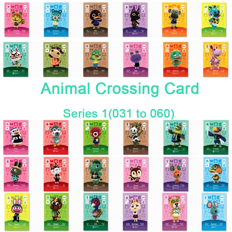 <font><b>Animal</b></font> <font><b>Crossing</b></font> <font><b>Card</b></font> <font><b>Amiibo</b></font> <font><b>Card</b></font> Work for NS Games Series 1 (031 to 060) image