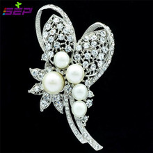 Imitation Pearls Brooch Pin Wedding Jewelry Crystals Rhinestone Brooches Broach Pins Women's Accessories 6153