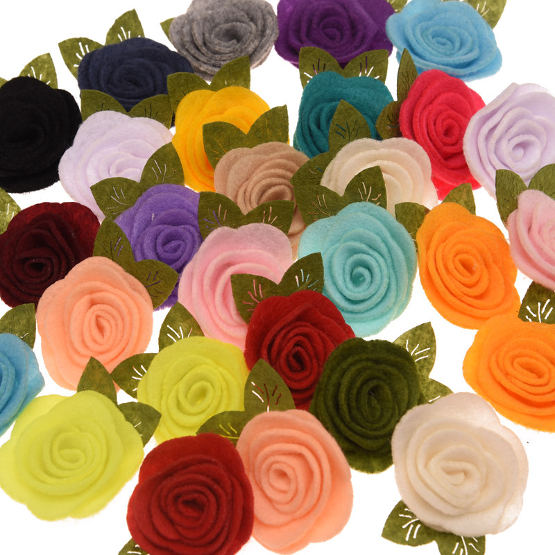 120pcs Artificial Rose Flower Boutique Hair Flower Fashion Flowers Accessories For DIY Hair Accessory 20 Color U-Pick