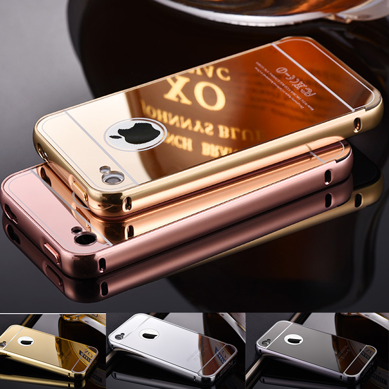 For iPhone 4 mirror case Luxury Bling Metal Case With Logo Mirror Style Aluminum Frame For iPhone 4 4S Plastic Slim Cover caso