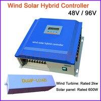 ЖК дисплей дисплей 2000 Вт Солнечный ветер гибридный контроллер для 600 Вт системы солнечных батарей 2kw Мельница турбины системы 48 В 96 В