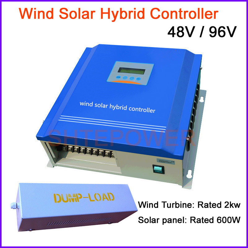 LCD display 2000w Wind solar hybrid controller for 600w Solar panel system 2kw windmill turbine system 48v 96v free shipping 600w wind grid tie inverter with lcd data for 12v 24v ac wind turbine 90 260vac no need controller and battery