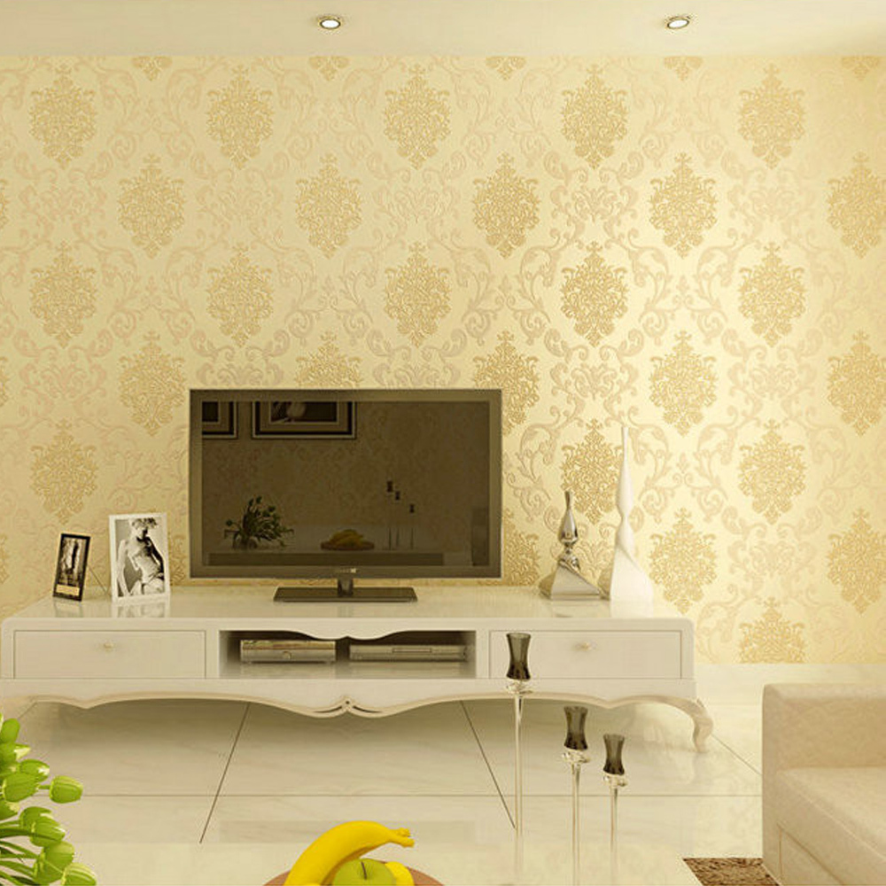 europe 3d wall paper of walls papel de parede flocking sprinkle gold murals damask wallpaper roll