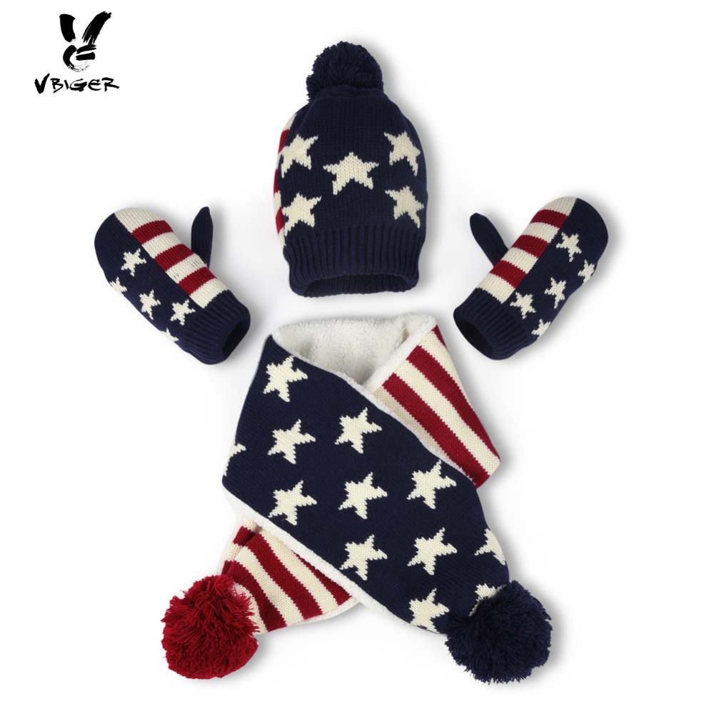 VBIGER 3pcs Children Knitted Striped Hat Beanies Skullies Set with Scarf Gloves Winter Keep Warm Cap Shawl with Fleece Lining simplicity wholesale 2pr set knitted touchscreen gloves
