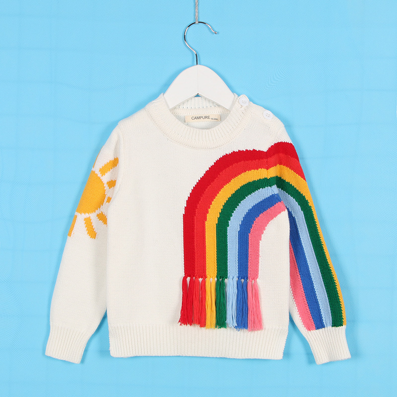 Kids Knitted Sweater Rainbow Sun Girls Top Clothes Baby Boys Pullover Jumper Knitwear Sweater Cotton Tassels Toddler Sweater Z34