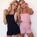 Pink Lace Up Women Short Jumpsuit Sexy Double Strap  Sleeveless Backless Combinaison Femme Overalls Playsuit Streetwear Rompers