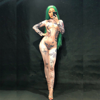Women Naked Tattoo 3D Printing Sexy Jumpsuit Nightclub Party Bodysuit Stage Wear Dancer Singer Performance Clothing - discount item  12% OFF Stage & Dance Wear