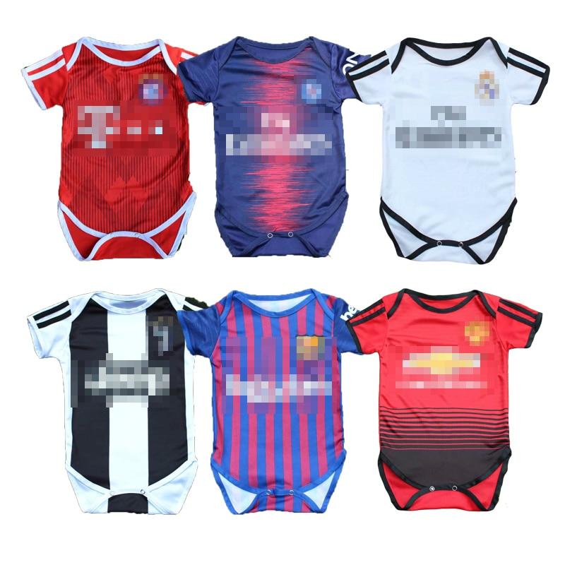 Baby Unisex Football Suit Climb   Rompers   Children Sport Jumpsuit Kids Cotton Short Sleeve Soccer Clothes European Football Club