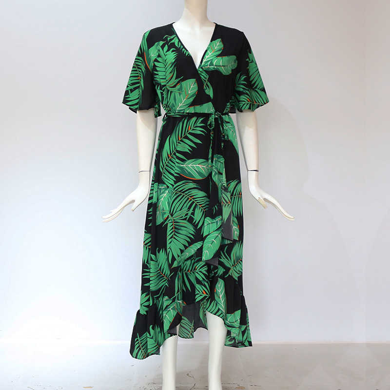Hilorill フローラルプリントボヘミアンビーチドレス 2020 夏の女性のドレスフリルカジュアル半袖 v ネックラップパーティードレス vestido