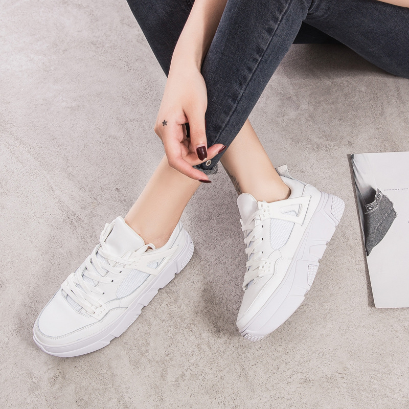 Jookrrix 2018 Autumn New Casual White Shoes Women Fashion Brand Real Leather Sneaker Women Leisure footware Breathable chaussure