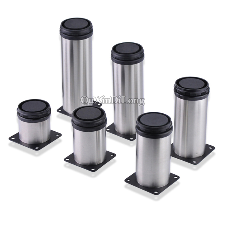 High Quality 12PCS/lot Stainless Steel Adjustable Support Furniture Legs Kitchen Cabinets Sofa Table Bed Leg Feet 6 Sizes bqlzr 80x85mm round silver black adjustable stainless steel plastic furniture legs sofa bed cupboard cabinet table bench feet
