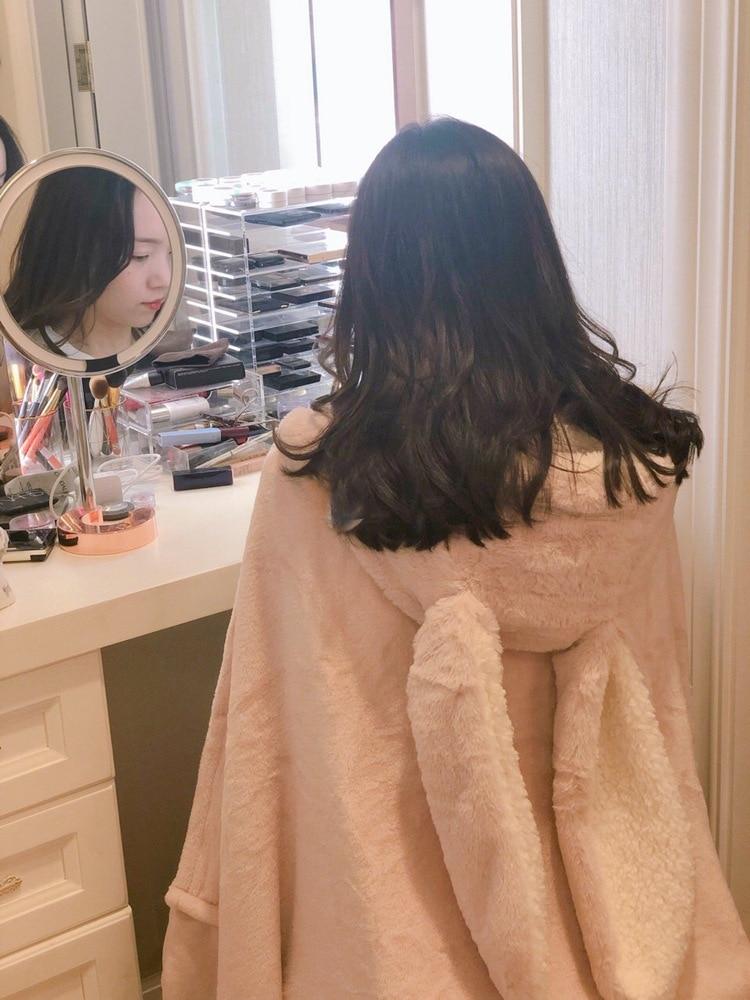 Cute Pink Comfy Blanket Sweatshirt Winter Warm Adults and Children Rabbit Ear Hooded Fleece Blanket Sleepwear Huge Bed Blankets 73