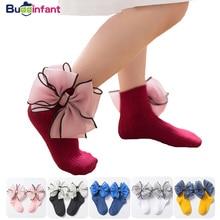 Детские носки принцессы для девочек кружевные носки с бантом и оборками для девочек, щиколотка хлопковые носки для девочек белые, розовые нарядные носки Свадебные носки с оборками
