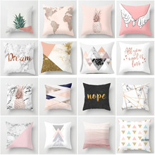 цены на Pink Geometric Nordic Cushion Cover Tropic Pineapple Throw Pillow Cover Polyester Cushion Case Sofa Bed Decorative Pillow  в интернет-магазинах