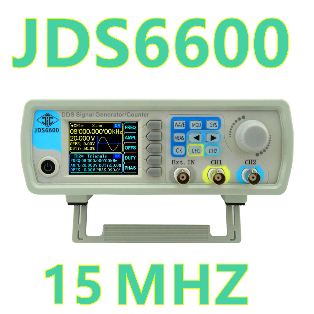 JDS6600 Digital 15MHZ Control Dual-channel DDS Function Arbitrary sine Waveform Signal Generator frequency meter 46% off hantek dso4202c digital storage oscilloscope 2ch 200mhz 1 channel arbitrary function waveform generator factorydirectsales