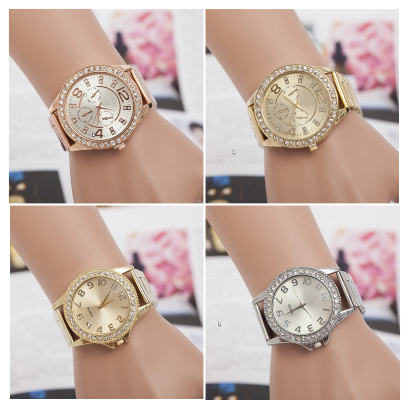 2017 Rose Gold Watch Women Fashion High Quality Stainless Steel Wristwatch Ladies Rhinestone Quartz Clock relogio feminino high quality rose gold silicone watch women ladies men fashion dress quartz wristwatch relogio feminino gv008