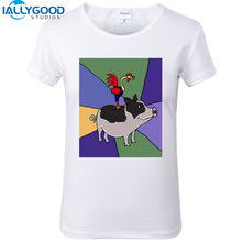 New Summer Fashion Funny Rooster on Pot-Bellied Pig Colorful Art T-Shirts Women Soft Cotton Printed White T Shirts Tops S1183