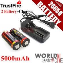 2 шт. TrustFire натуральная 26650 защищены 5000 мАч 3.7 В литий-ионный Перезаряжаемые Батарея + проводной универсальный Батарея Зарядное устройство