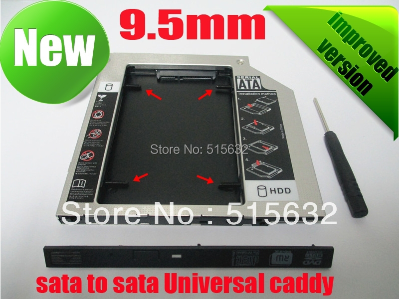 2016 SATA to SATA 2nd HDD HD HARD DRIVE 9.5mm Universal Caddy CD/DVD-ROM Bay improved version