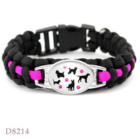 Cats Dogs Mom Outdoor Survival Paracord Charm Bracelets 25*18mm Glass Cabochon Men Women Unisex Lover's Hiking Camping Gift 3
