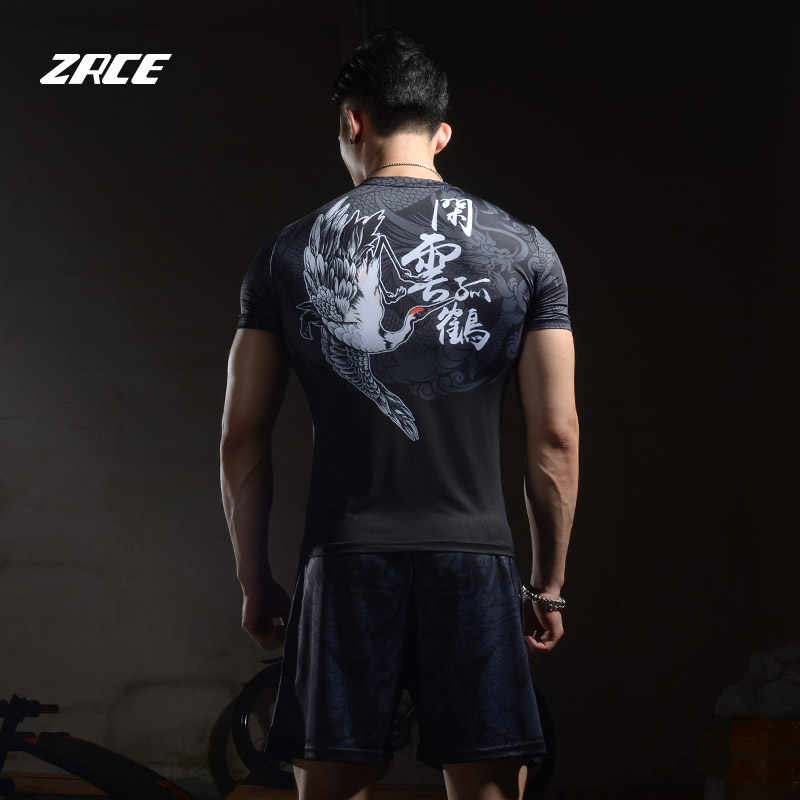 ZRCE sweat-absorbent breathable stretch fabric male basketball running fitness multifunctional training suit T-shirt