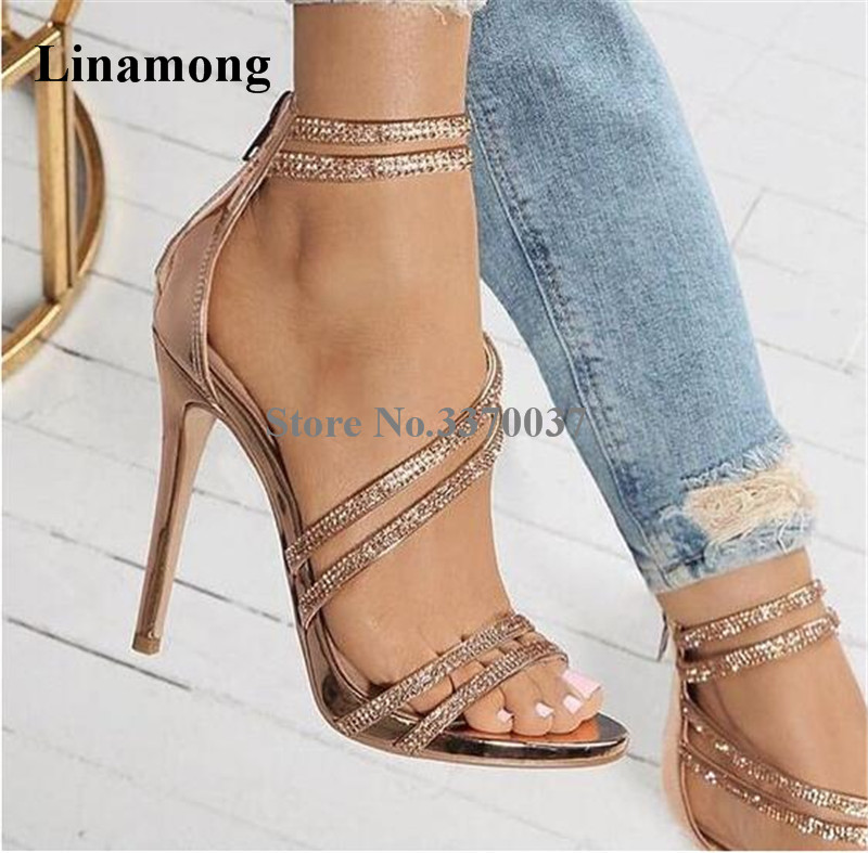 Women Luxury Open Toe Rhinestone Straps Cross Sandals Back Zipper-up Crystal High Heel Sandals Wedding Shoes Dress ShoesWomen Luxury Open Toe Rhinestone Straps Cross Sandals Back Zipper-up Crystal High Heel Sandals Wedding Shoes Dress Shoes