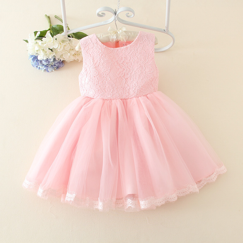 High Quality Scoop Sleeveless Lace Applique And Lace Edge   Flower     Girls     Dresses   Tea-Length Little   Girl   Party   Dresses