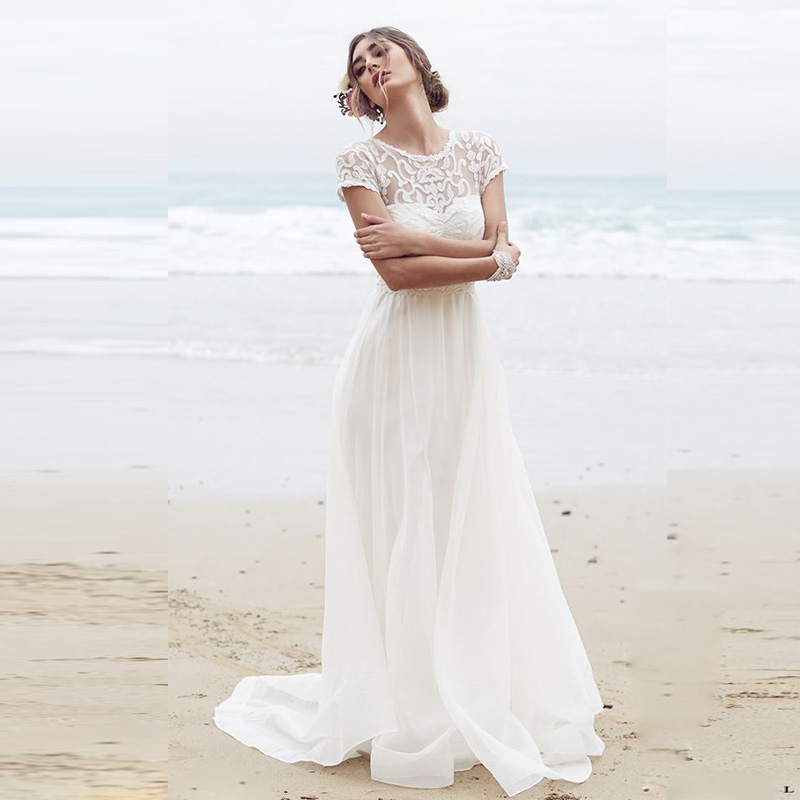 White Long Chiffon Beach Wedding Dress 2017 Lace Plus Size