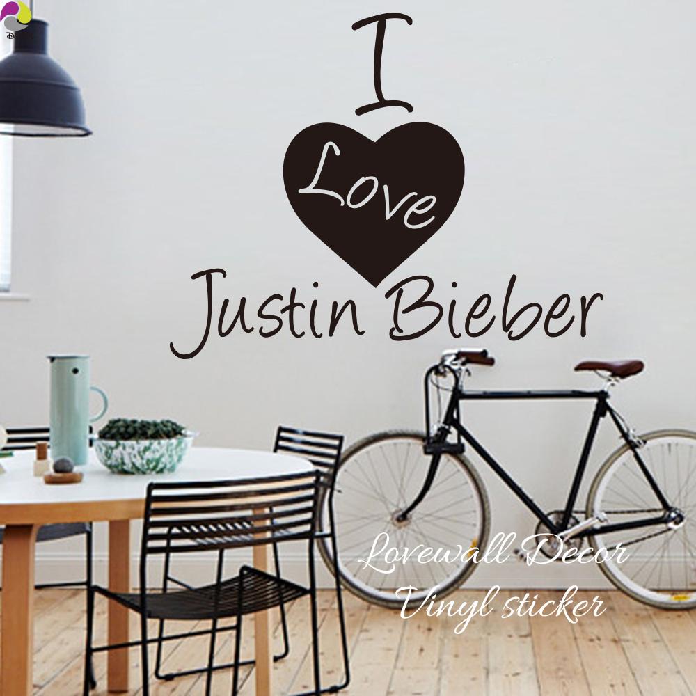 Eu Amo Justin Bieber Adesivo De Parede Kids Room Sala De Música Super Star  Coração Decalque Part 85