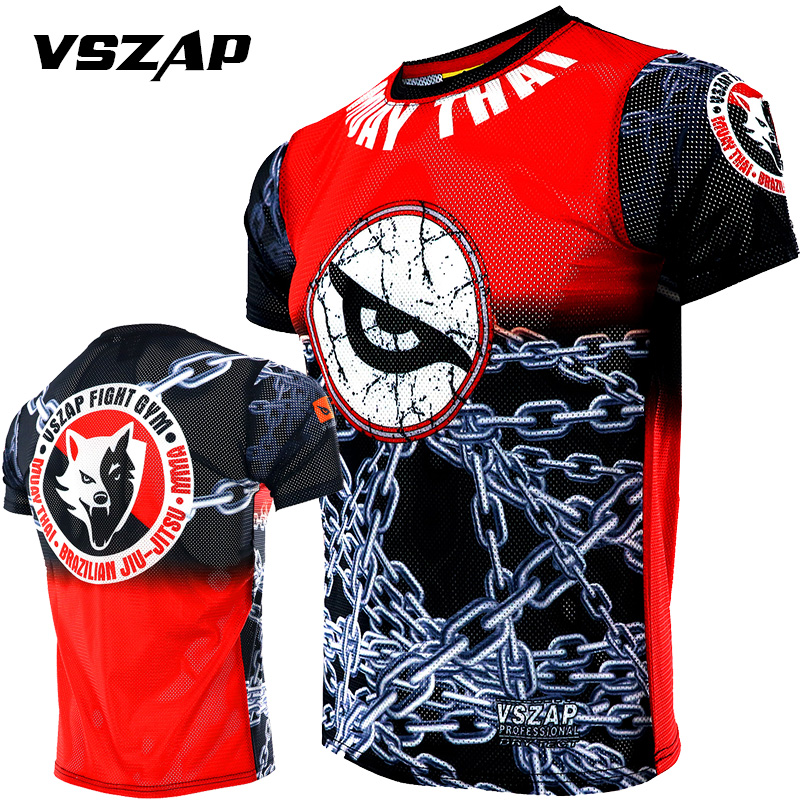 VSZAP Combat Thai Boxing Quick Dry Stretch Sport Short Sleeve T-shirt Tiger Muscle  Fitness MMA Beg