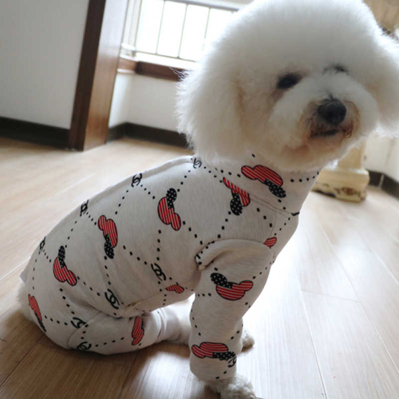 Zimowe ubranka dla zwierzęcia domowego z nadrukiem z psem kombinezony dla dla małych psów ciepły płaszcz z miękkiego aksamitu piżama dla psa bluza dla szczeniaka Chihuahua pudel
