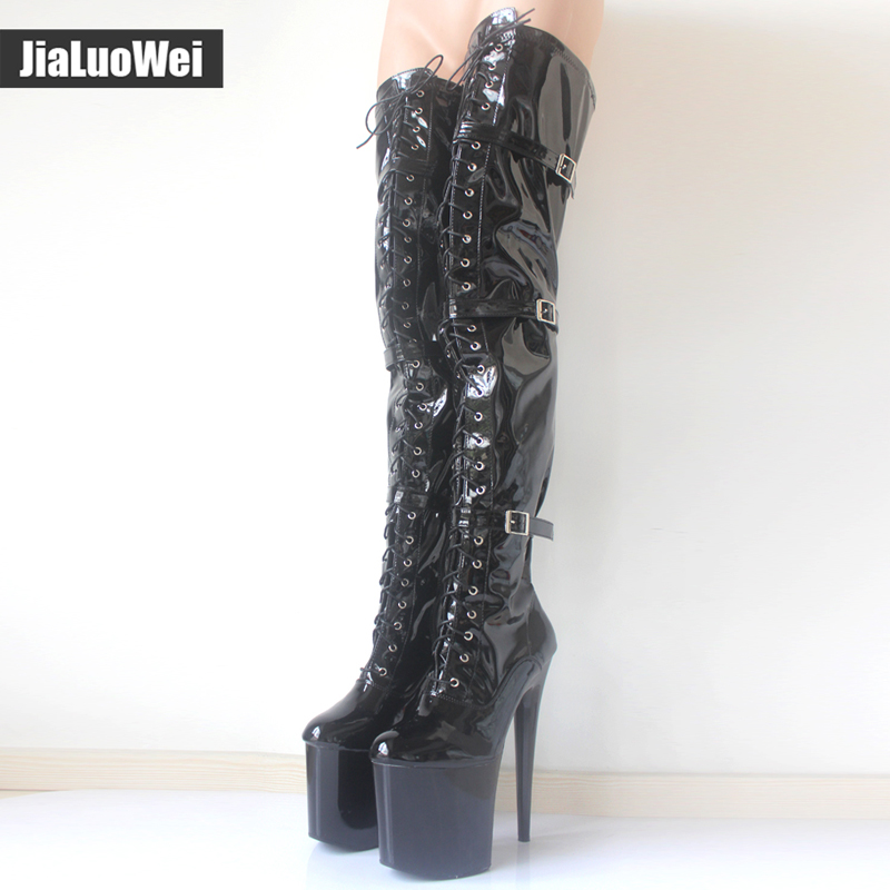 jialuowei Women Fashion 20CM Thin High Heels 9CM platform Sexy Fetish Pointed Toe Buckle Over-the-Knee Thigh high Dance Boots  jialuowei 6 extreme high heel fashion pump sexy foot fetish toe platform pumps high heels shoes adult women large sizes