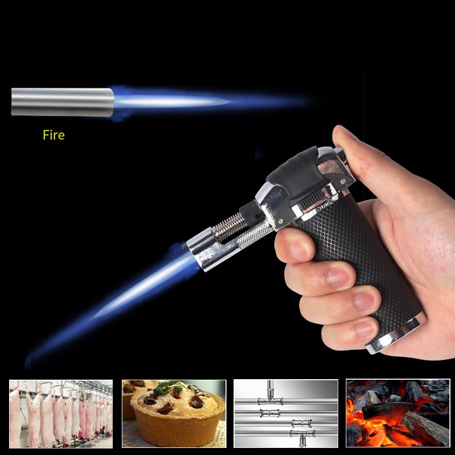 Flame Gun Torch Butane Lighter Burning Torch Electricity Ignite Outdoor Gas Torch Camping BBQ Soldering Welding Tool
