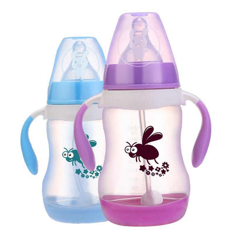 240/300ml Pp Baby Feeding Bottles Cups Kids Water Milk Bottle Soft Mouth Duckbill Sippy Infant Drink Training Feeding Bottle