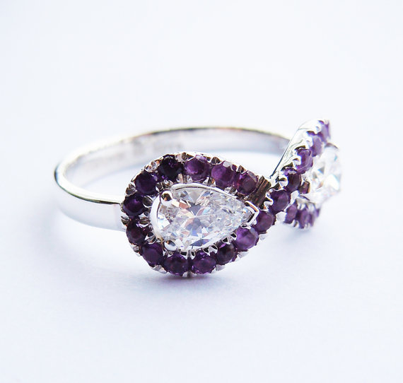 Wellmade Solid 925 Sterling SilverAmethyst Infinity Ring