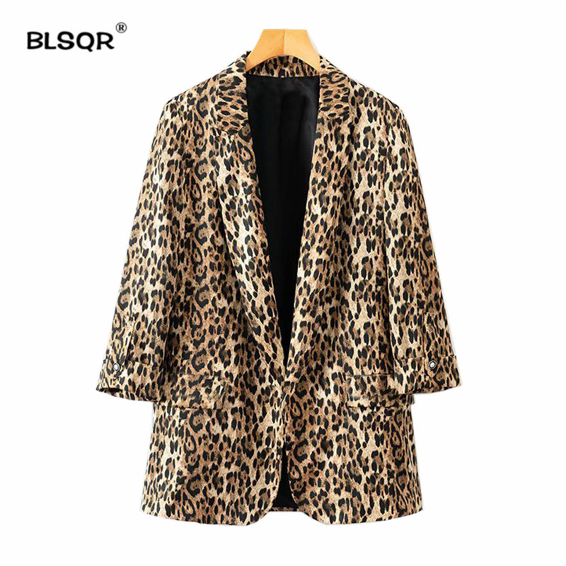 Femmes Casual Leopard Blazer Femelle Survêtement Mode Casaco Féminin Poches  Décorer Col Cranté Manches Longues Manteau 1856b804021
