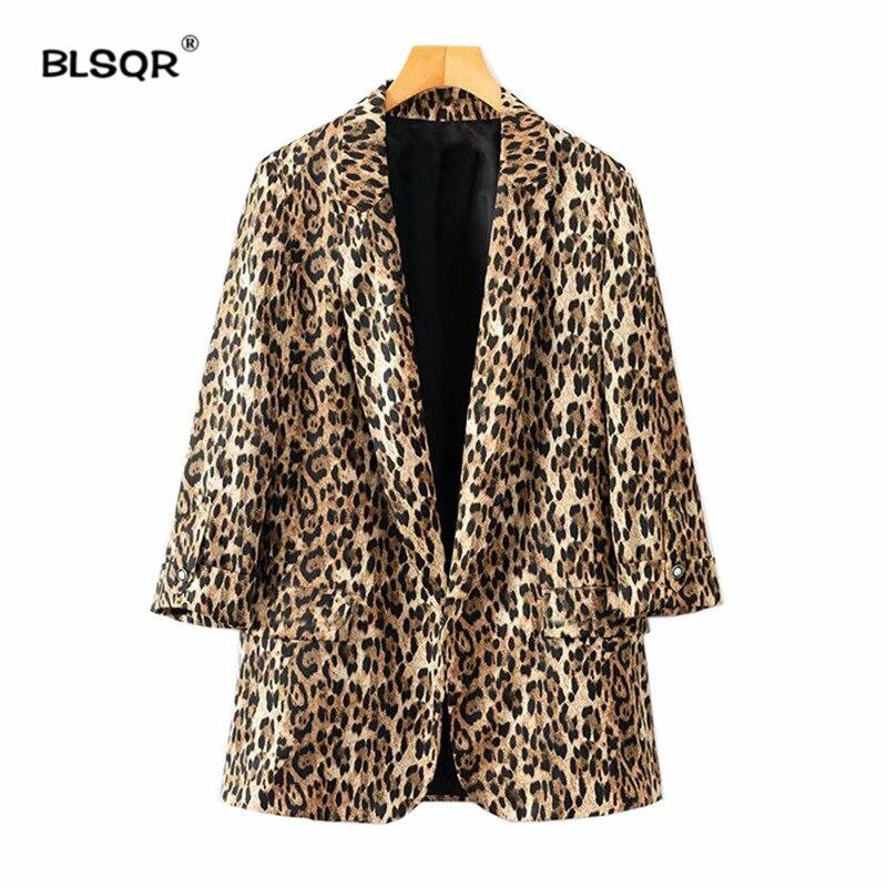 Women Casual Leopard Blazer Female Outerwear Fashion Casaco Feminine Pockets Decorate Notched Collar Long Sleeve Coat Tops