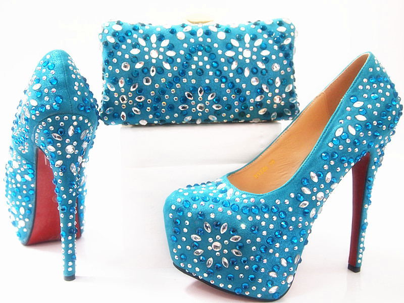 ФОТО 2017 New Summer Style Elegant Shoes And Bag Set Itailan Shinning Stones High Heel Shoes And Bag Set For Wedding Party G14
