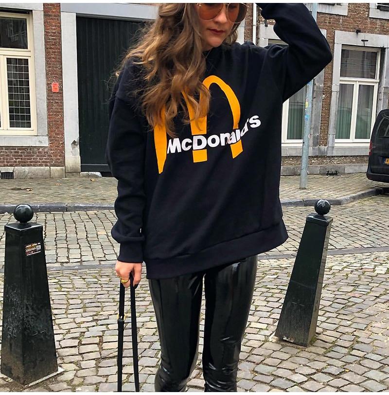 Artsnie Spring 19 Black Casual Knitted Sweatshirt Women O Neck Long Sleeve Loose Pullovers Letter Streetwear Sweatshirts Mujer 3