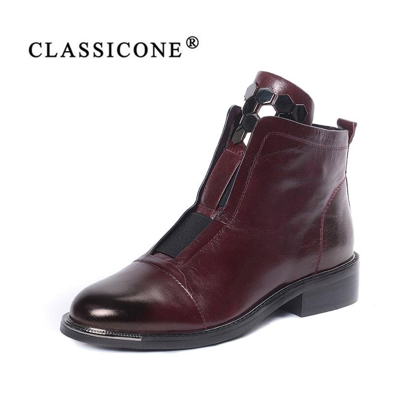 Femmes chaussures femme cheville bottes printemps automne en cuir véritable appartements avec la marque de mode décoration à la main style sexy CLASSICONE