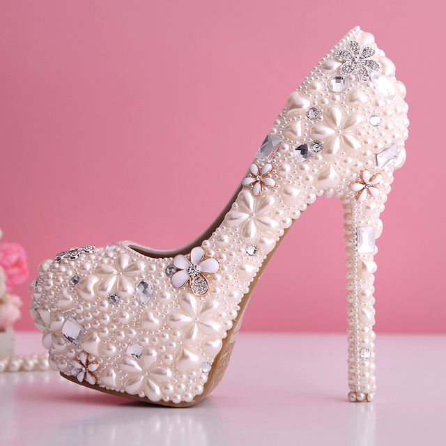 229a22817f0a Wholesale 2015 new women light pink pearl diamond high heel increased  platform wedding shoes elegant bridal flowers party pumps