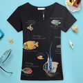 2016 Summer New Arrival Handmade Bead Diamonds Many Fish O Neck Short Sleeve Fashion Slim Women T Shirt